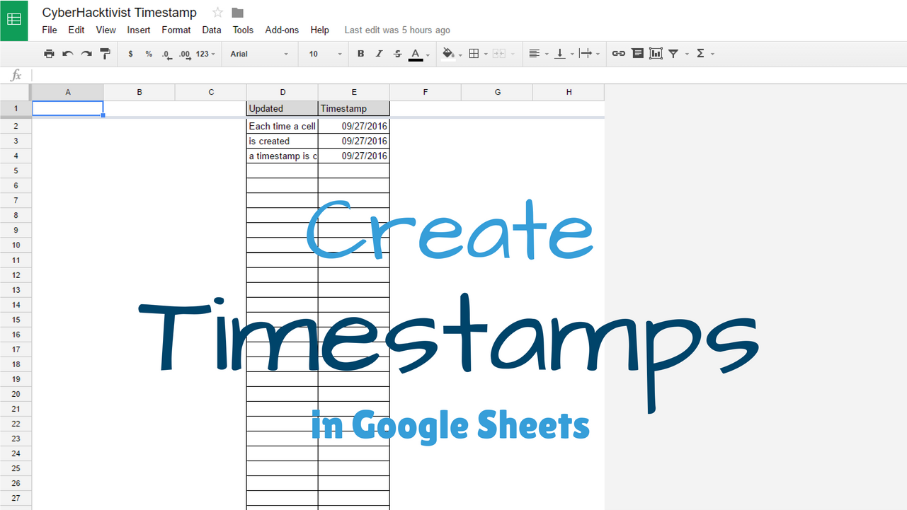 create a timestamp when a cell is updated in google sheets